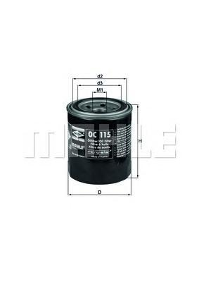 Фильтр масляный MAHLE OC 115 S0322 (W 814/80). (OC115)