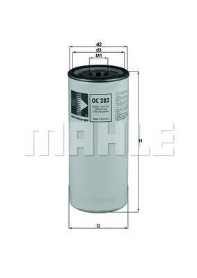 Фильтр масляный MAHLE OC 282 Z0322 (WP 11 102/3). (OC282)