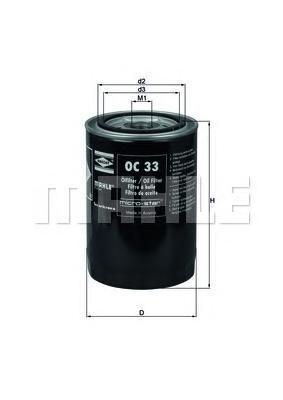 Фильтр масляный MAHLE OC 33 S0322 (W 932/81) (W 940/21). (OC33)