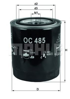 Фильтр масляный MAHLE OC 485 S0322 (W 930/21). (OC485)