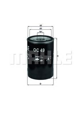 Фильтр масляный MAHLE OC 49 S0322 (W 719/15). (OC49)