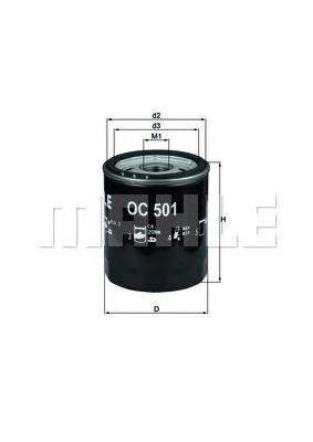 Фильтр масляный MAHLE OC 501 S0322 (W 7035) (W 714/3). (OC501)