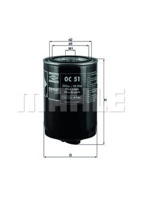 Фильтр масляный MAHLE OC 51 S0322 (W 940/25). (OC51)