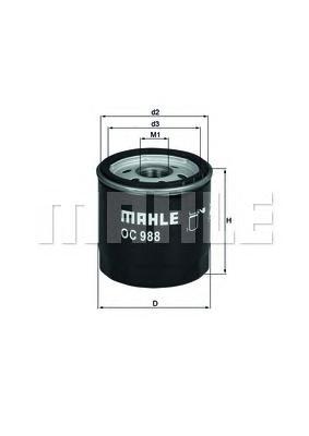 Фильтр масляный MAHLE OC 988 S0322 (W 712/83). (OC988)