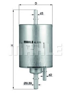 Фильтр топливный погружной MAHLE KL 570 Z0322 (WK 720/3). (KL570)