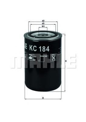 Фильтр топливный MAHLE KC 184 S0322 (WK 940/2). (KC184)