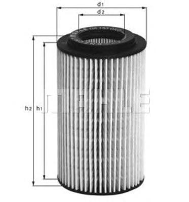 Элемент фильтрующий масляного фильтра MAHLE OX 153D2 ECO S0322 (H 718/1 z). (OX153D2)
