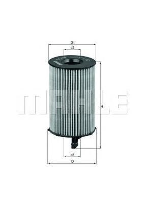 Элемент фильтрующий масляного фильтра MAHLE OX 420D ECO S0322 (HU 8005 z). (OX420D)