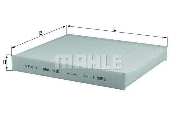 Элемент фильтрующий салонного фильтра MAHLE LA 120 S0322 (CU 2545). (LA120)