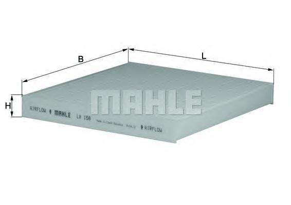 Элемент фильтрующий салонного фильтра MAHLE LA 158 Z0322 (CU 2043). (LA158)