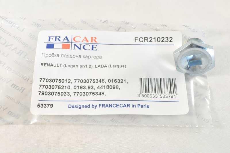 Пробка поддона картера FCR210232 7703075348FRANCECAR. RENAULT (Logan ph1,2), ЛАДА ЛАРГУС