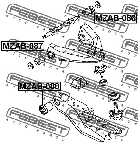 Сайлентблок верхнего переднего рычага. Febest (MZAB087)