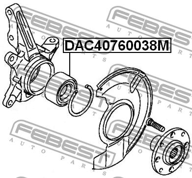 ПОДШИПНИК СТУПИЧНЫЙ ПЕРЕДНИЙ (40X76X38). Febest (DAC40760038M)