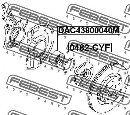ПОДШИПНИК СТУПИЧНЫЙ ПЕРЕДНИЙ (43X80X40). Febest (DAC43800040M)