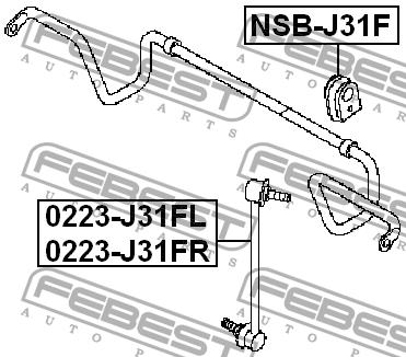ВТУЛКА ПЕРЕДНЕГО СТАБИЛИЗАТОРА D22. Febest (NSBJ31F)
