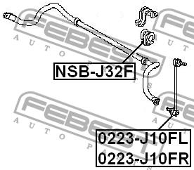 ВТУЛКА ПЕРЕДНЕГО СТАБИЛИЗАТОРА D24. Febest (NSBJ32F)