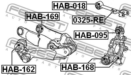 САЙЛЕНТБЛОК ЗАДНЕЙ ЦАПФЫ. Febest (HAB-168)