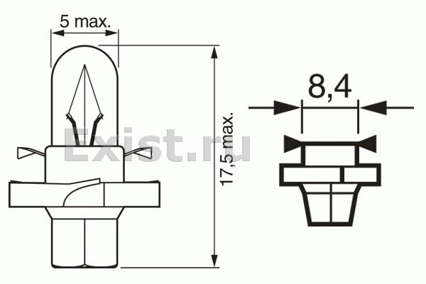 ЛАМПА 12V 1,3W PURE LIGHT (коробка/10шт) товар ЗАКРЫТ. Bosch (1987302254)