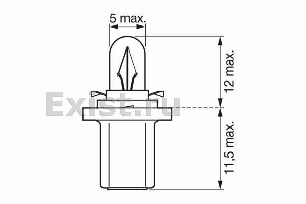 ЛАМПА 12V 2W BX8,5d PURE LIGHT (коробка/10шт) закрыт. Bosch (1987302221)