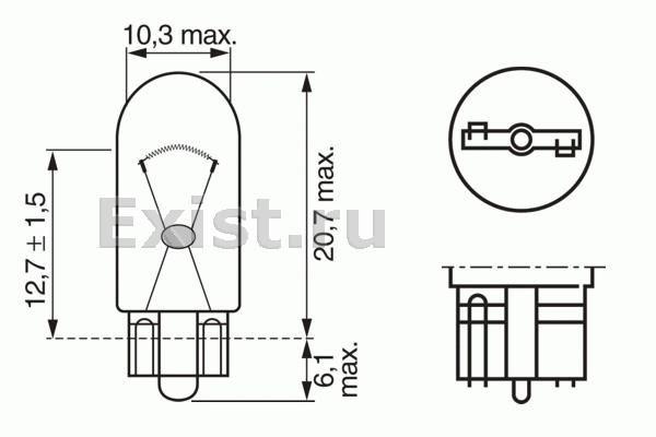 ЛАМПА 12V 2W W2,1x9,5d PURE LIGHT (коробка/10шт) кр.10. Bosch (1987302223)