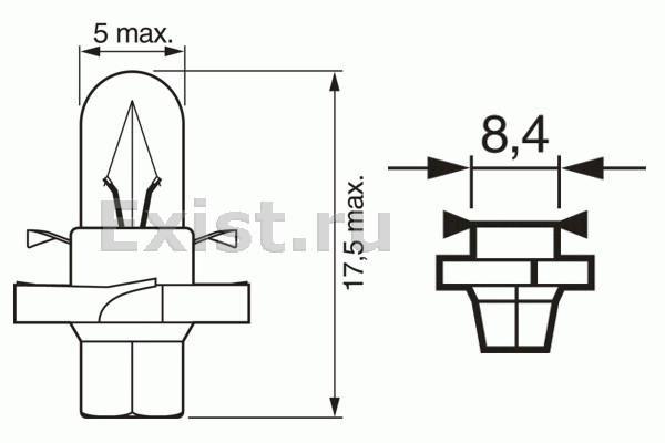 ЛАМПА 12V 2W BX8,4d PURE LIGHT (коробка/10шт) кр.10. Bosch (1987302236)