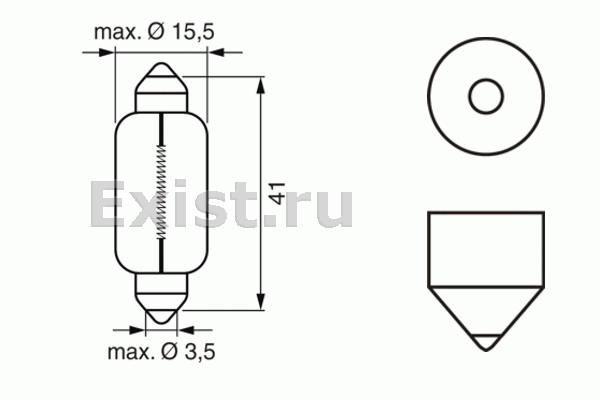 ЛАМПА 12V 15W SV8,5-8 PURE LIGHT (коробка/10шт) кр.10. Bosch (1987302238)