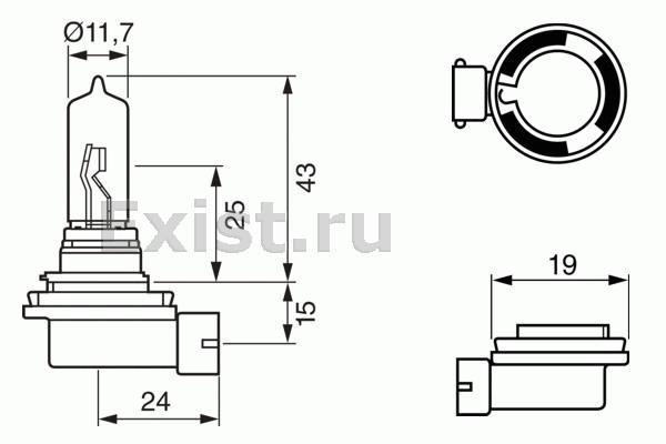 ЛАМПА H9 12V 65W (коробка/1шт). Bosch (1987302082)