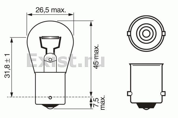 ЛАМПА P21W 21W 24V (коробка/10шт). Bosch (1987302501)
