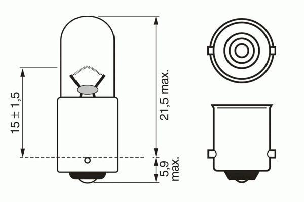 ЛАМПА T4W, 6V 4W BA9s PURE LIGHT (коробка/10шт) кр.10. Bosch (1987302603)