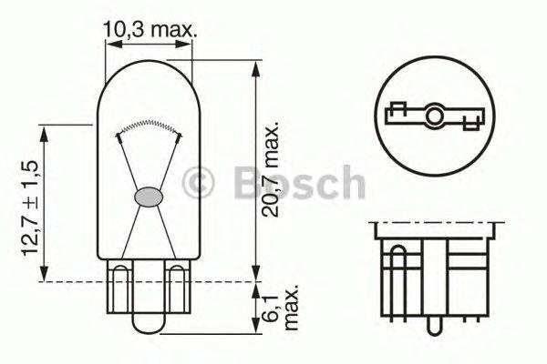ЛАМПА DAYLIGHT W5W 12V (коробка/10шт) кр.10. Bosch (1987302286)