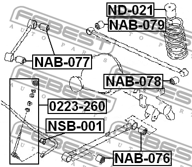 САЙЛЕНТБЛОК ЗАДНЕГО ПОПЕРЕЧНОГО РЫЧАГА. Febest (NAB-079)