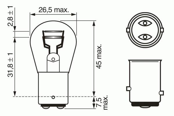 ЛАМПА P21/5W, 6V 21/5W BAY15d PURE LIGHT (коробка/10шт). Bosch (1987302609)