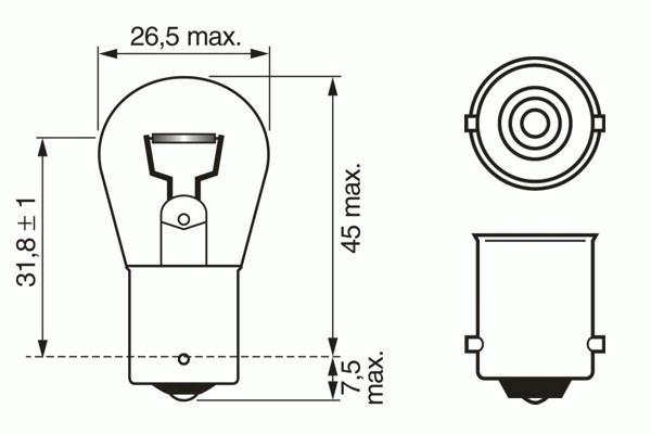 ЛАМПА P21W, 24V 21W BA15s TRUCKLIGHT HEAVY DUTY ЗАМЕНА 1987302703. Bosch (1987302503)
