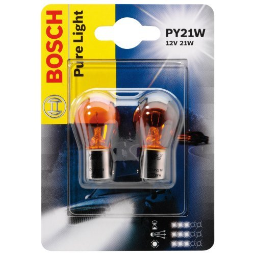ЛАМПА PY21W 12V PURE LIGHT BAU15s (блистер/2шт комплект). Bosch (1987301018)