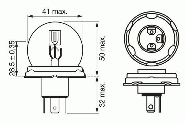 ЛАМПА R2 24V 55/50W (коробка/1шт). Bosch (1987302421)