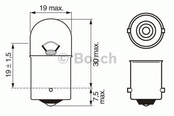 ЛАМПА R5W 6V (коробка/10шт) кр.10. Bosch (1987302605)