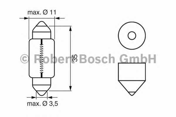 ЛАМПА C10W 12 V (коробка/10шт) кр.10. Bosch (1987302228)