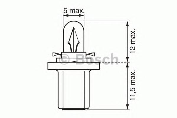 ЛАМПА T4W 24V 1.2W (коробка/10шт) кр.10. Bosch (1987302514)