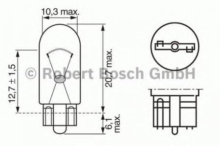 ЛАМПА W2W 24V 2W W2,1x9,5d TRUCKLIGHT (коробка/10шт) кр.10. Bosch (1987302516)