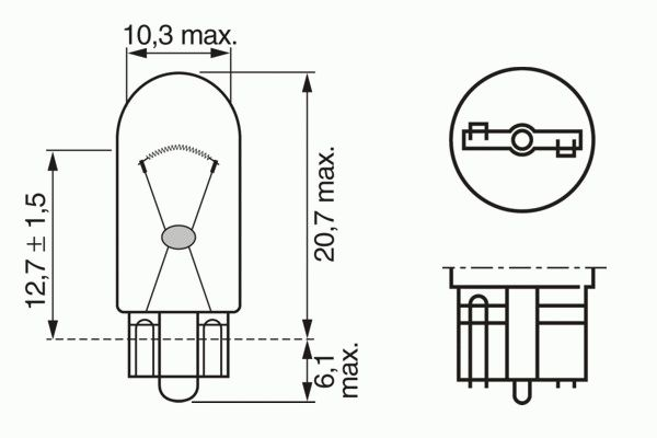 ЛАМПА W3W, 12V 3W W2,1x9,5d PURE LIGHT (блистер/2шт комплект). Bosch (1987301028)