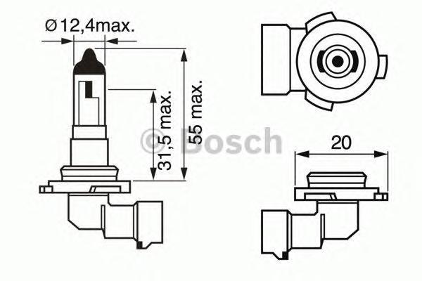 ЛАМПА H10 12V 42W Pure Light (коробка/1шт). Bosch (1987302083)
