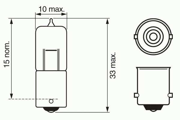 ЛАМПА 12V 10W BA9s (коробка/1шт). Bosch (1987302233)