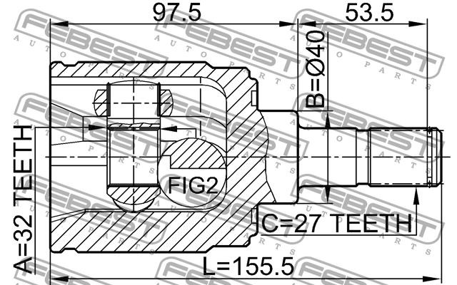 ШРУС ВНУТРЕННИЙ ПРАВЫЙ 32X40X27(58.5). Febest (0311CRVMTRH)