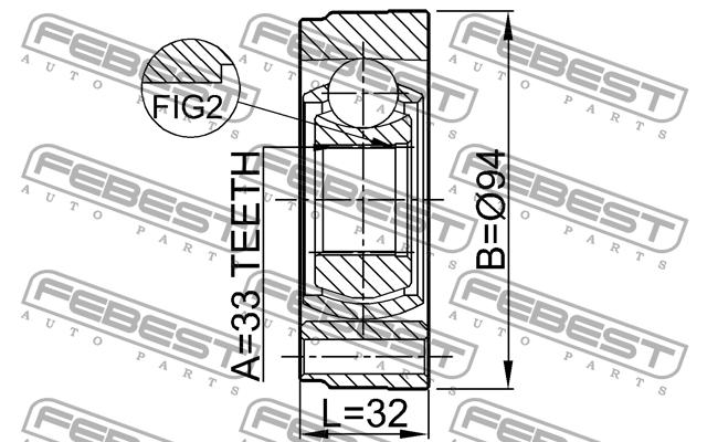 ШРУС ВНУТРЕННИЙ 33X94. Febest (2311GV)