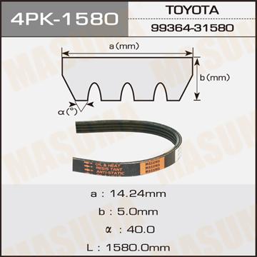Ремень ручейковый MASUMA 4PK-1580