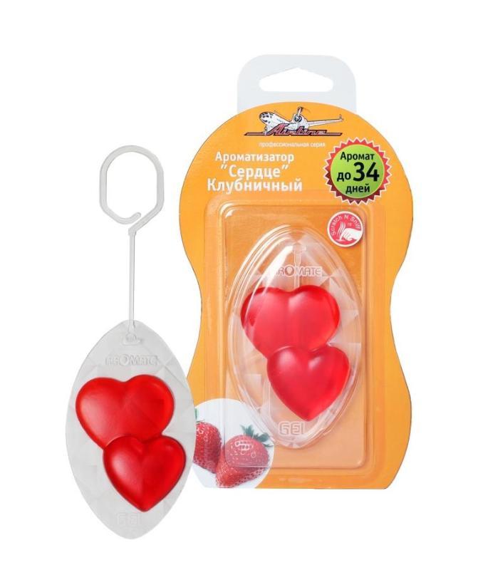 Ароматизатор подвесной гелевый  Сердце  клубничный AF-M02-ST. AIRLINE (AFM02ST)