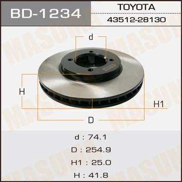 Диск тормозной MASUMA front TOWNACE NOAH/ SR40 (упаковка 2 шт). (BD-1234)