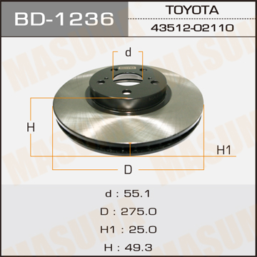 Диск тормозной MASUMA front ALLION, PREMIO/ AZT240, NZT240 (упаковка 2 шт). (BD-1236)