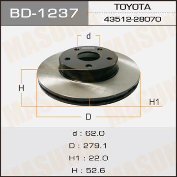 Диск тормозной MASUMA front TOWNACE NOAH/ SR50 (упаковка 2 шт). (BD-1237)