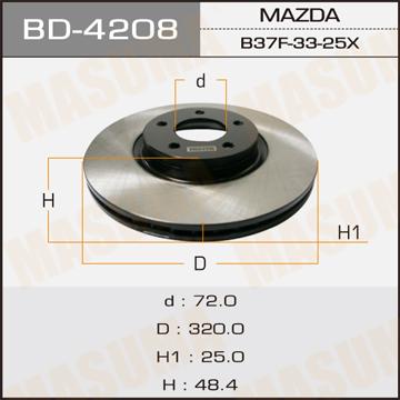 Диск тормозной MASUMA front MAZDA3 (упаковка 1 шт). (BD-4208)